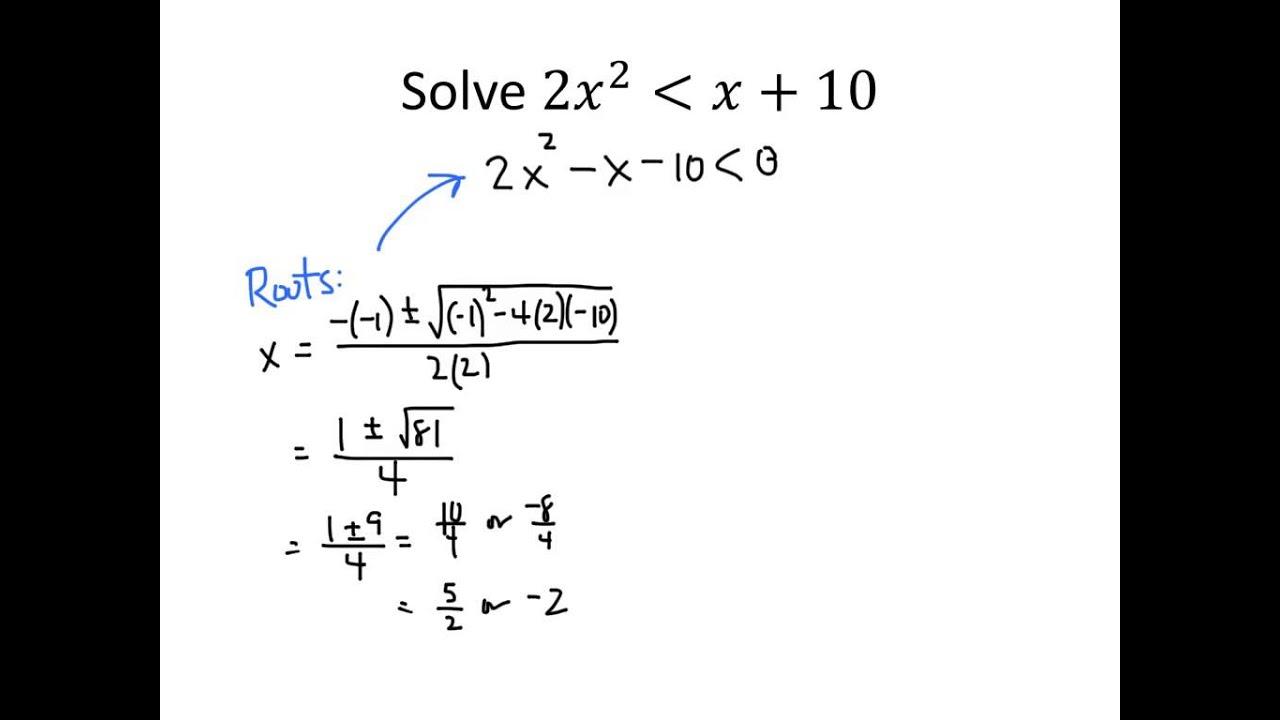 Brainstorming Solving Inequalities Involving Quadratic