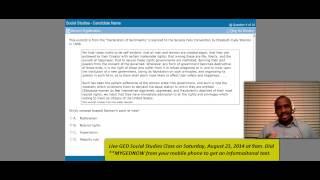 Free GED Help - Social Studies Class - Sat., Aug. 23, 2014