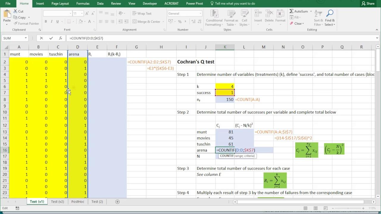 Excel   Cochran's Q test