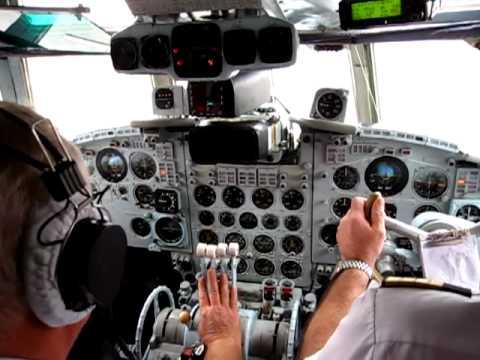 Tandem Aero Il-18D Cockpit - Departure Rwy 26 from Kiev Zhulyany Airport (IEV), Ukraine