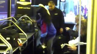 woman and cockatoo Hertz Bus