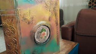 Kitap Kutu Boyama - Eskitme pudrası Uygulama - Kabartma Desen Yapma