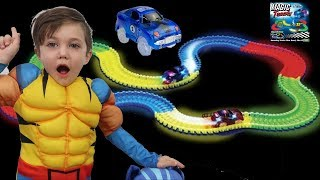 Magic Tracks Toy Car Challenge with PJ Masks! Family Fun Video