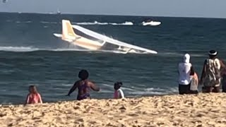 Dramatic moment plane lands in ocean after malfunction