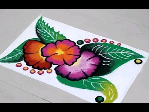 Home Decoration Idea Beautiful & Easy Flower Rangoli Design