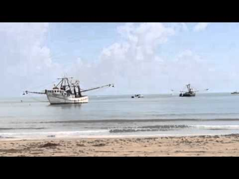 Shrimp Boat Gets Stuck On Sandbar