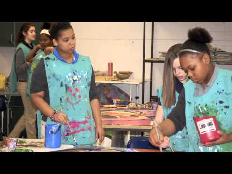 Artist Residency at Lima Schools - Lima, Ohio Art for Kids Inspired by Corey's Blues Paintings