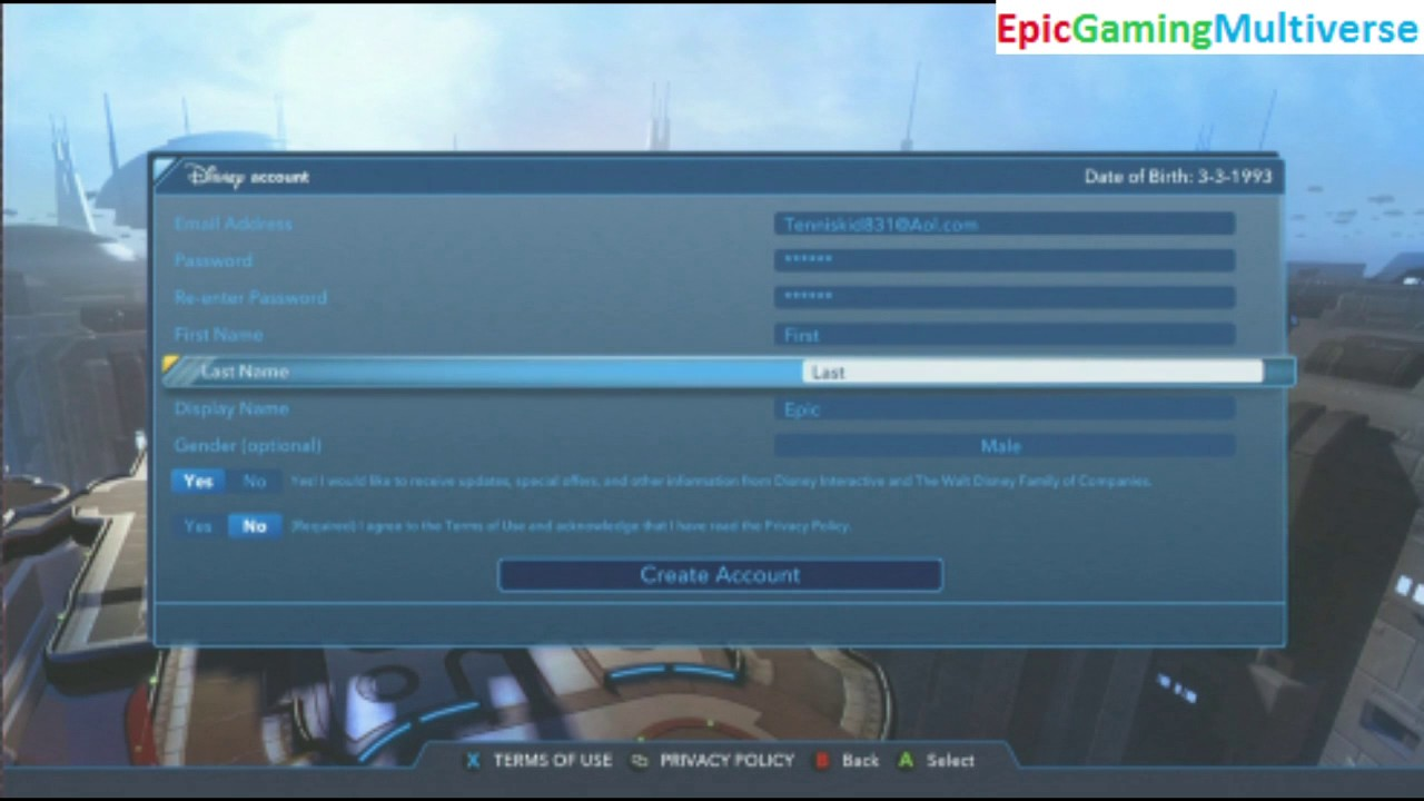 tutorial for how to create a disney account in disney infinity 3.0