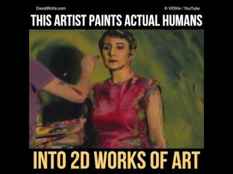 This Artist Paints Actual Humans Into 2D Works Of Art. Paintings by Alexa Meade Art.