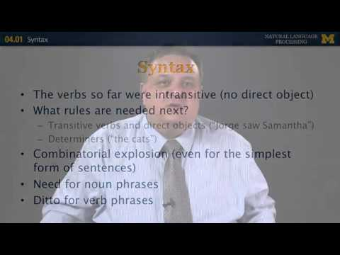 Syntax - Natural Language Processing | University of Michigan
