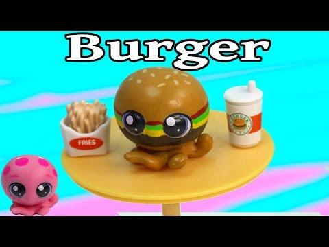 Custom LPS Octopus Cheeseburger Inspired DIY Littlest Pet Shop Fast Food Burger Cookieswirlc