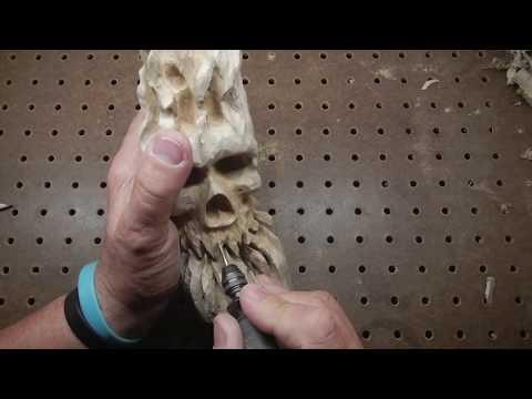 Wooden Skull Spirit Carving