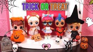 Barbie LOL Surprise Dolls TRICK OR TREAT Halloween Costumes - LOL Families Dollhouse