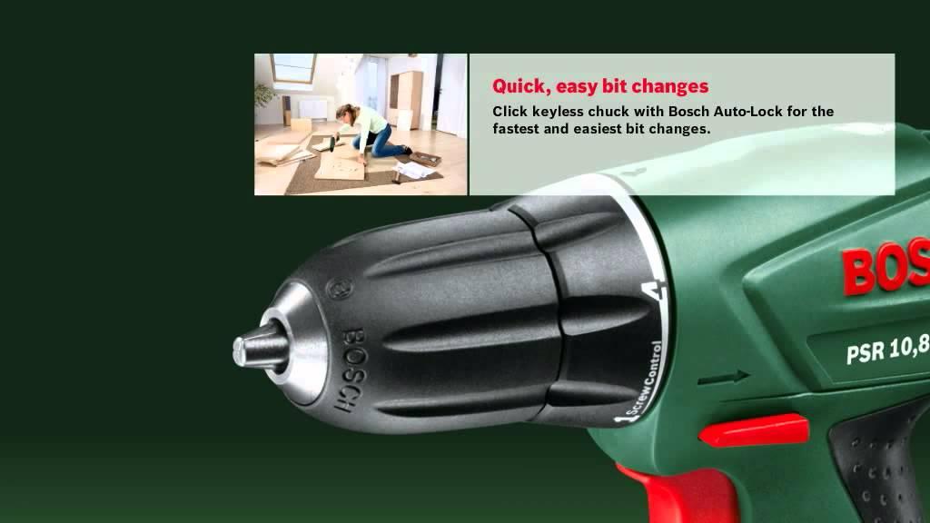 bosch cordless drill psr 10 8 li youtube. Black Bedroom Furniture Sets. Home Design Ideas