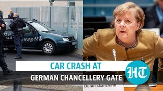Germany: Car painted with slogans crashes into Chancellor Merkel's office gate