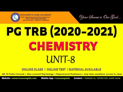 PGTRB 2021: UNIT VIII - CHEMISTRY