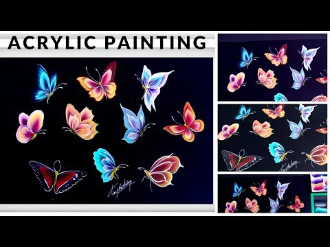 Top 10 Simple and Easy Butterfly Painting - Acrylic Painting - Beginners Painting Ideas - DIY