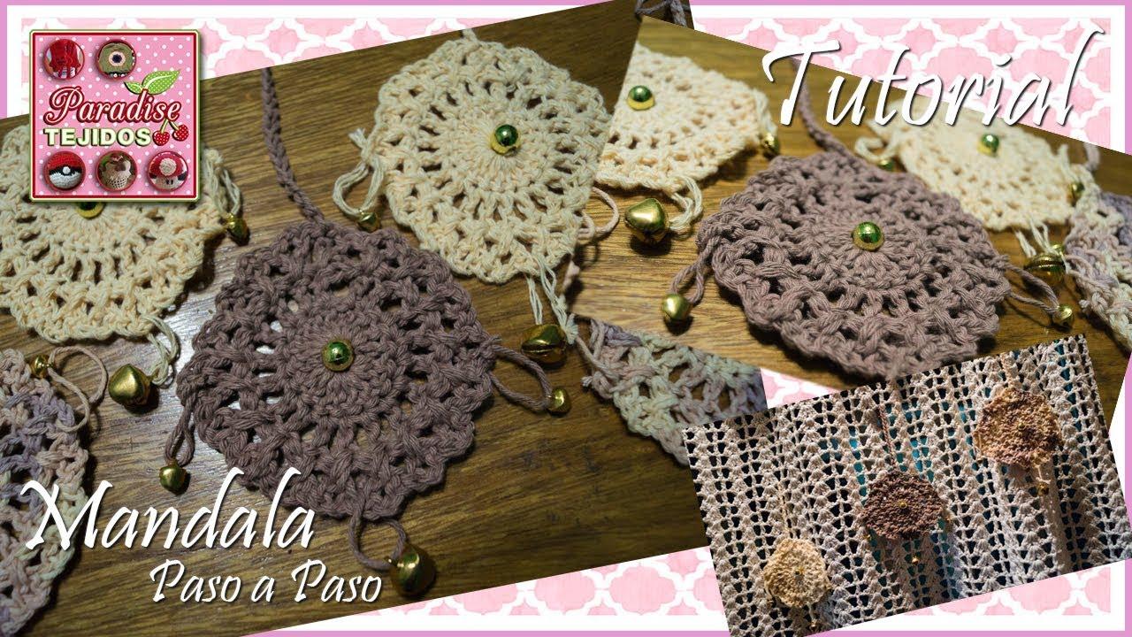tutorial - Mini mandalas decorados a crochet colgantes para decorar ...