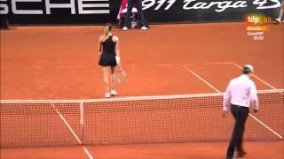 A.Radwanska-Vinci Arguing with the chair umpire Porsche Tennis Grand Prix 2014 Stuttgart