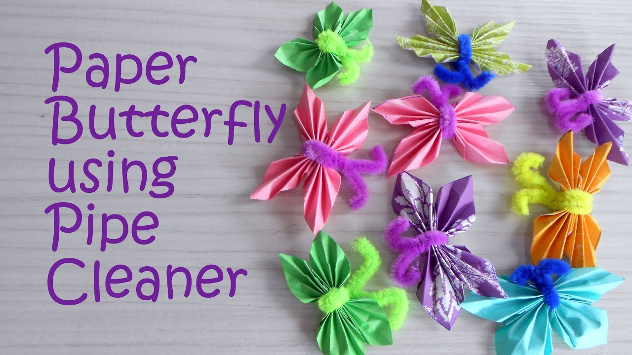Pipe cleaners for crafts - Paper Butterfly Using Pipe Cleaner Tutorial Kids Craft