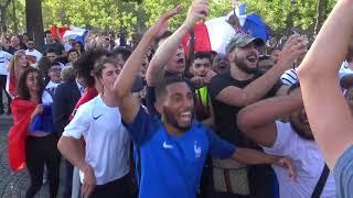 Joie des supporters pour la qualification en demi-finales (6 juillet 2018, Champs-Élysées, Paris)