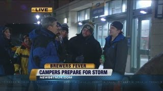 Fans brave the cold at Arctic Tailgate for Brewers tickets
