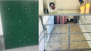 Diy Mirrored Dresser Revamp $20!