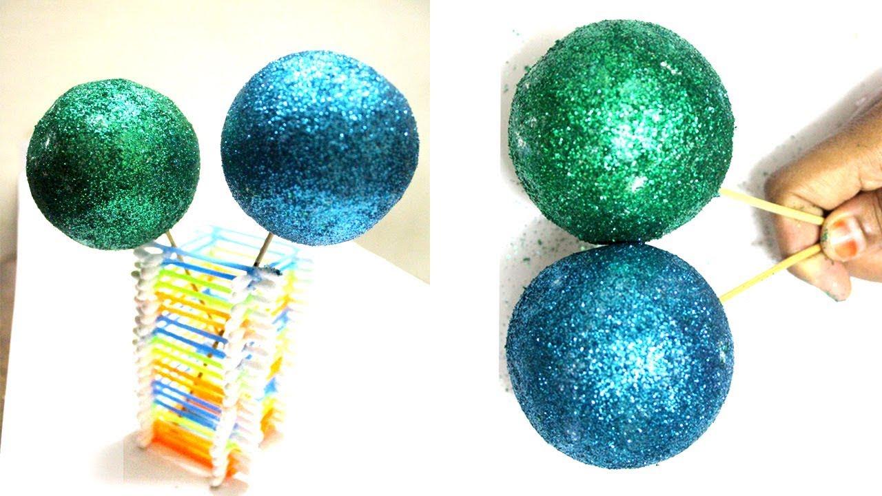Foam Balls Craft Easy Glitter Ball Home Decoration Idea Youtube