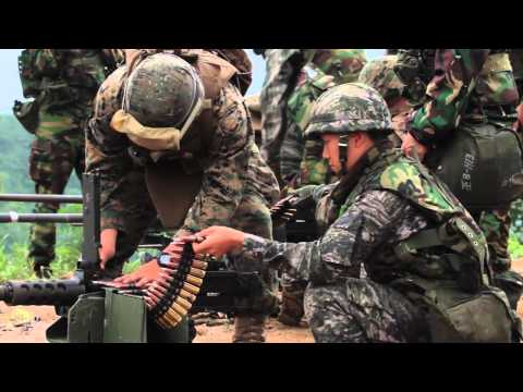 ROK Marines and U.S. Marines Fire Mk 19 Grenade Launcher and Practice Squad Tactics in Korea