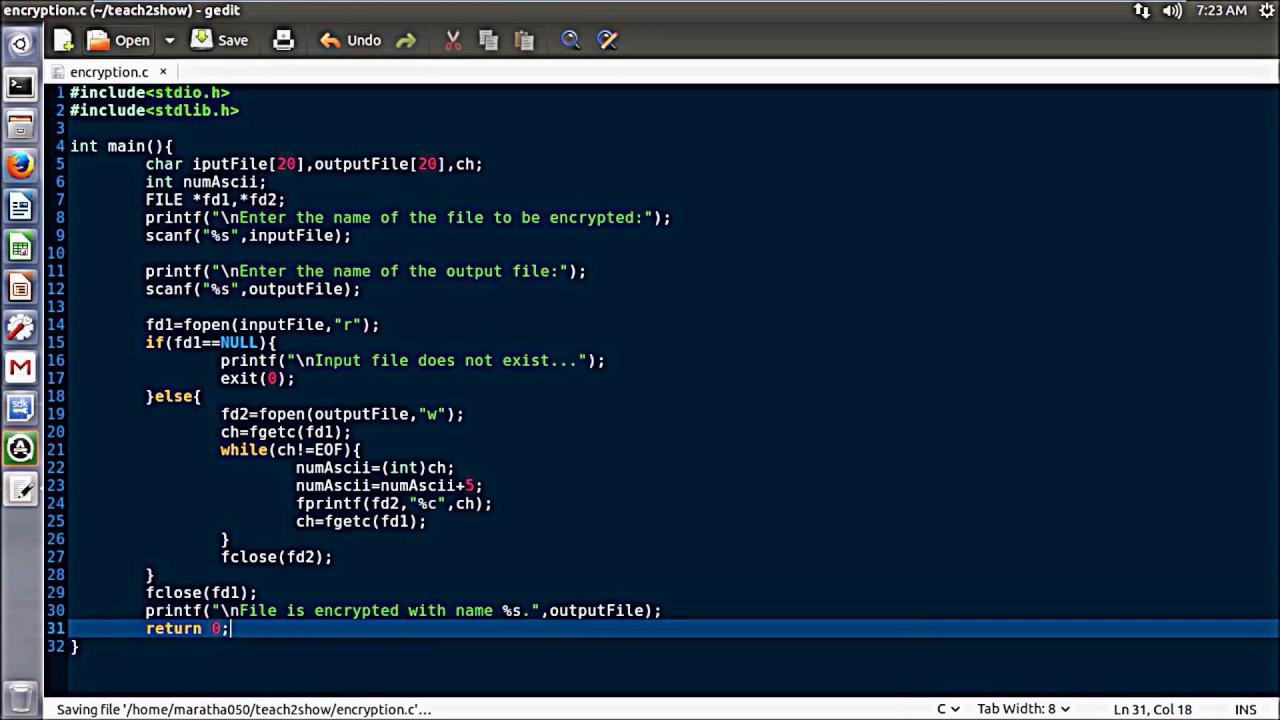 how to encrypt text file using C language program