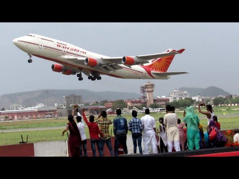 """Queen of Skies"" Boeing 747 ( Air India ) take-off from Jaipur Airport !! ( Hajj flight )"