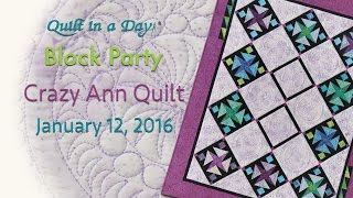 Crazy Ann Quilt, January 2016 Block Party