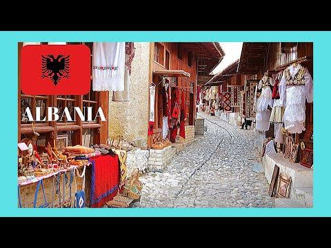 ALBANIA, the historic OLD BAZAAR of KRUJA  (Krujë), walking through