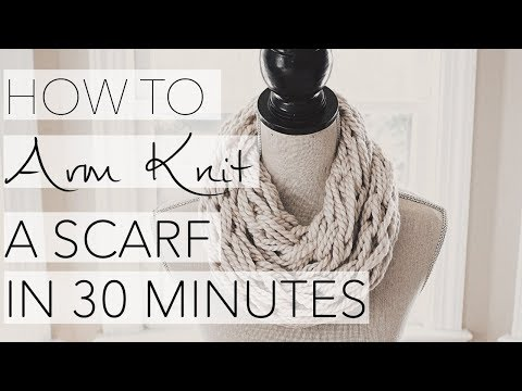 Crocheting With Arms : How to Arm Knit an Infinity scarf in 30 Minutes! (Updated HD video on ...