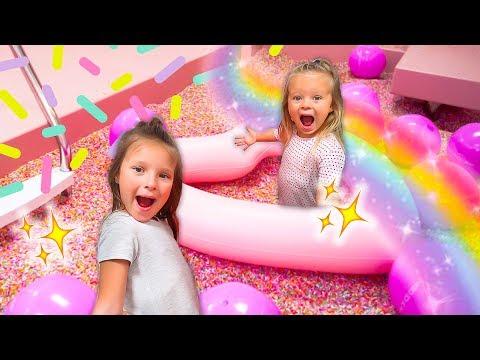 KIDS SWIM IN GIANT POOL OF RAINBOW SPRINKLES! 🍦 🌈