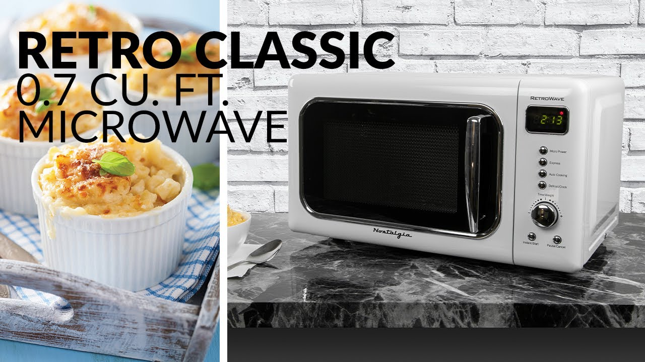 classic retro 0 7 cu ft 700 watt countertop microwave oven with led display