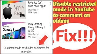 Fix restricted Mode has hidden comments for this video on YouTube on mobile