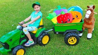 Pretend Play with Toy Horse and Ride On Tractor | Children Learn Names of Fruit and Vegetables