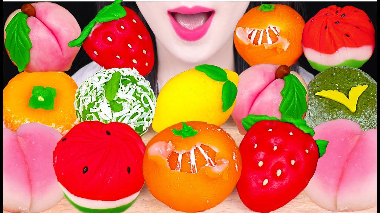 ASMR SWEET BEAN CAKE *FRUIT CAKE WAGASHI* 과일 화과자 먹방 EATING SOUNDS