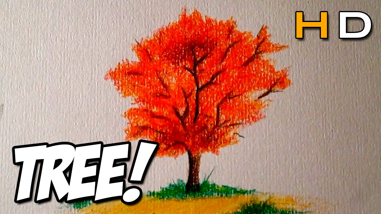 how to draw a tree with colored pencil step by step for kids