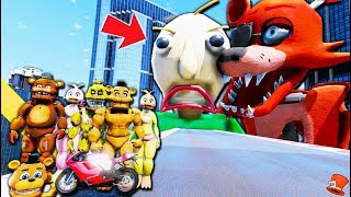 Freddy & Chica Animatronics Stunt on Giant Foxy & Baldi's Basics Battle!! (GTA 5 FNAF RedHatter)
