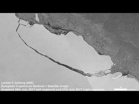 Iceberg A-68 drifts away from Larsen-C Ice Shelf, Antarctica