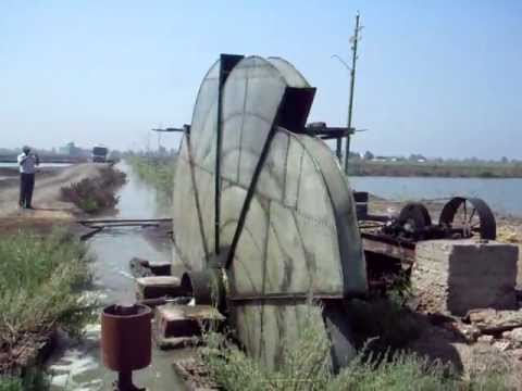 use of traditional water wheels in lifting water to fish farms in