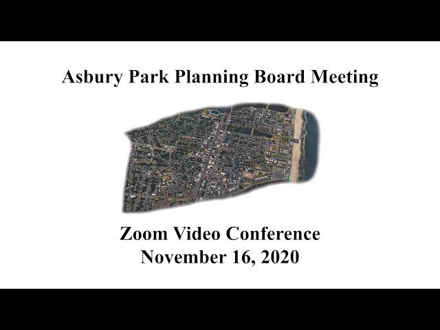 Asbury Park Planning Board Meeting - November 16, 2020