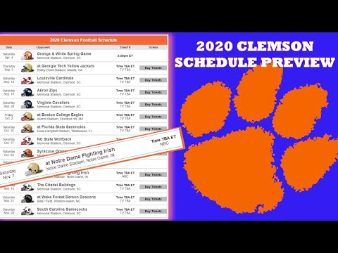 CLEMSON TIGERS 2020 FOOTBALL SCHEDULE PREVIEW