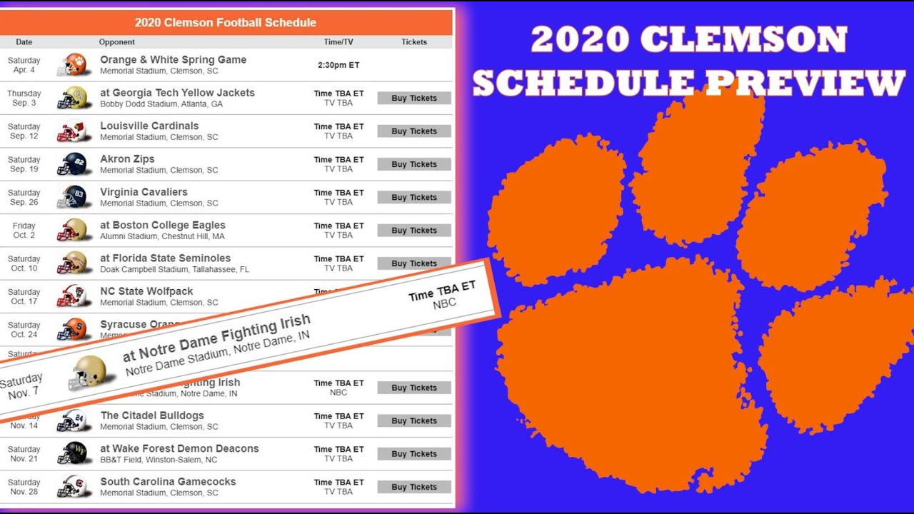 Clemson Tigers 2020 Football Schedule Preview Youtube