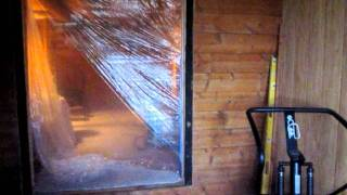 installing patio doors log cabin remodel