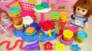 Play doh cake and baby doll friends cooking play baby Doli story