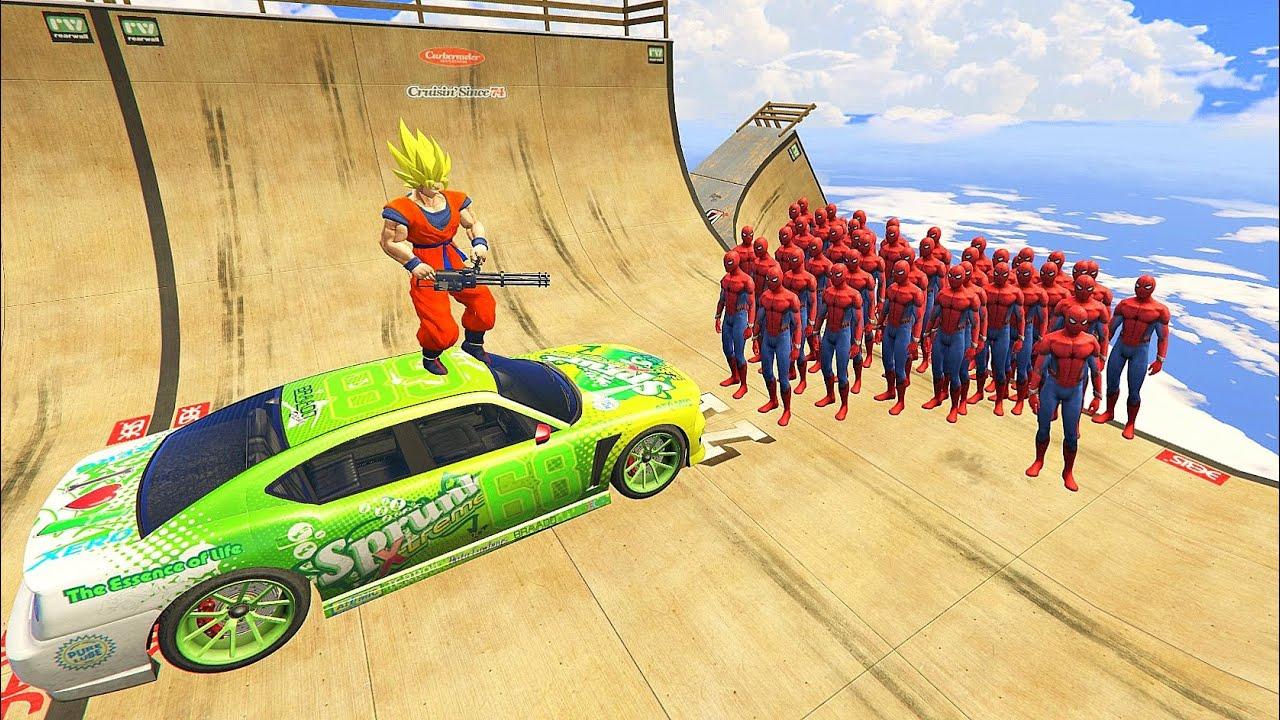 GTA 5 Crazy Ragdolls SPIDERMAN VS GOKU Dragon Ball Z (Euphoria Physics, Ragdolls, Funny Moments)