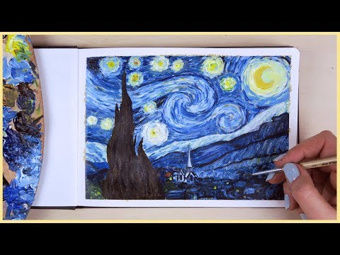 How to Paint the Starry Night with Acrylic Paint Step by Step | Art Journal Thursday Ep. 24